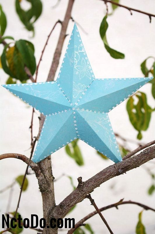 3D Paper Star Ornament with Template